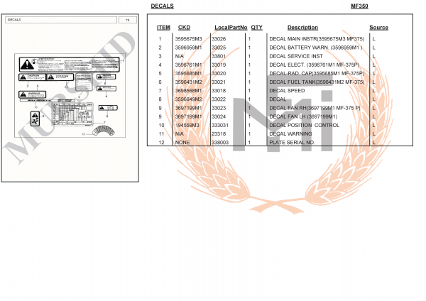 MF350 SPARE PARTS DECALS