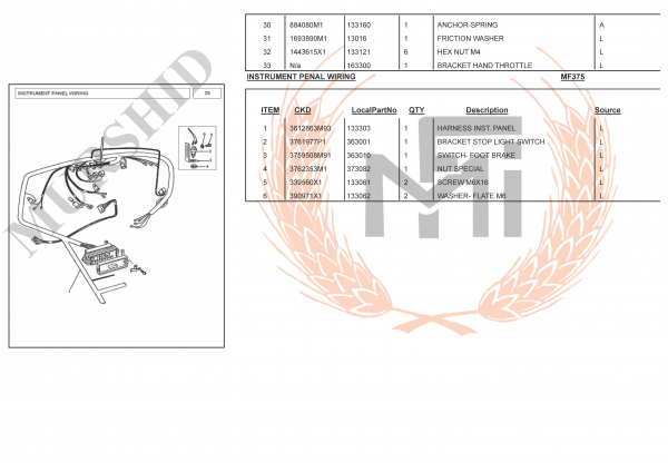 MF375 SPARE PARTS INSTRUMENT PENAL WIRING