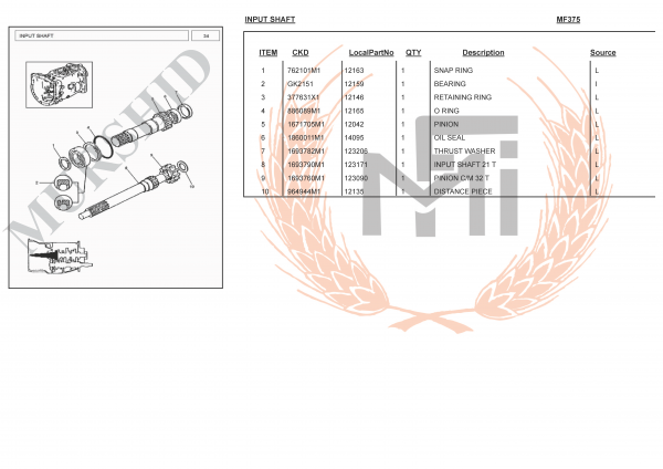 MF375 SPARE PARTS INPUT SHAFT