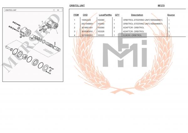 MF375 SPARE PARTS ORBITOL UNIT