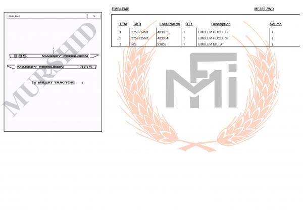 MF385 SPARE PARTS EMBLEMS