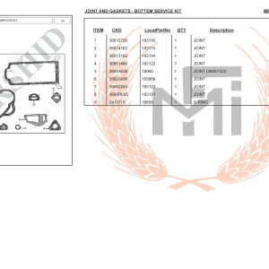 MF385 4WD SPARE PARTS JOINT AND GASKETS - BOTTEM SERVICE KIT