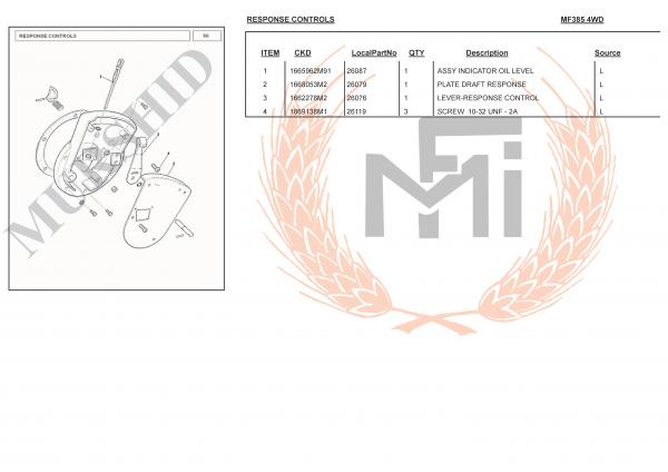 MF385 4WD SPARE PARTS RESPONSE CONTROLS
