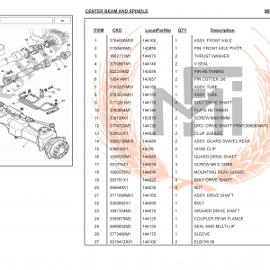MF385 4WD SPARE PARTS CENTER BEAM AND SPINDLE